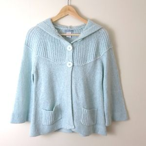 dELiA*s Ice Blue Button Hooded Cardigan M